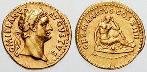 Золотой ауреус Домициана, выпущенный по поводу победы над хаттами (справа пленный хатт с длинными волосами сидит на щите характерной формы, рядом сломанное копьё-фрамея, согласно Тациту, основное оружие германцев в I в)