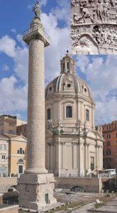 Колонна Траяна в Риме (на врезке справа вверху – фрагмент рельефа на колонне)
