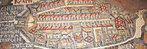 План города Элия Капиталина (мозаика VI века – ныне римские улицы города, построенного Адрианом, находятся в Еврейском квартале Иерусалима)