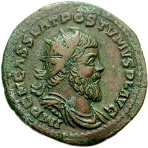 Монета Галльской империи с профилем Постума