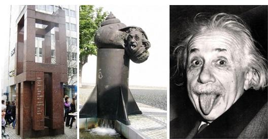 Памятник на месте дома Эйнштейна, фонтан Эйнштейна, знаменитая фотография