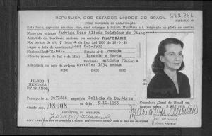 Документ о въезде Ядвиги Голдблюм-Джангарде в Бразилию