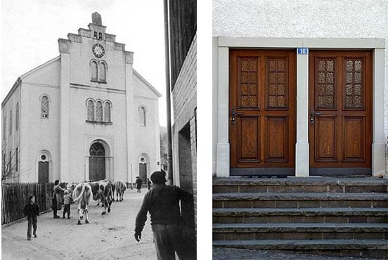 Слева Синагога в Эндигене, справа Две отдельные двери (для христиан и евреев) в доме в Эндингене