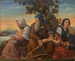 Плач на реках вавилонских... Русская вышивка бисером по холсту, 1840-е гг.