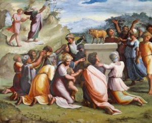 Поклонение золотому тельцу. Фреска лоджии Рафаэля во Дворце понтифика в Ватикане