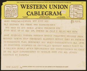 Оригинал телеграммы Райгнера в Вашингтон и Лондон;