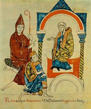 Генрих IV умоляет маркграфиню Матильду и аббата Гуго о встрече с папой (миниатюра XII в.)