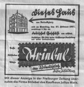 С этим объявлением в газете Freiburger Zeitung фирма Штрибель перенимает торговый дом Julius Marx
