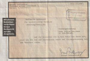 Этим письмом Эрнест Ротшильд отказался от всех притязаний