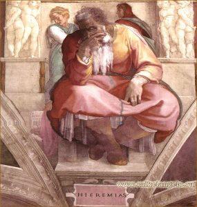 Микеланджело. Пророк Иеремия. Там же.