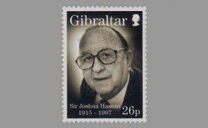 Юбилейная почтовая марка с портретом сэра Джошуа Абрахама Хассана