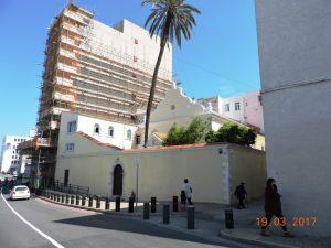 Гибралтар. За забором – Nefutsot Yehuda Synagogue, она же Flemish Synagogue