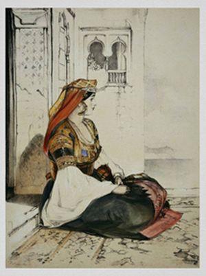 Еврейки Гибралтара в праздничной одежде. Зарисовки John Frederick Lewis. 1832 год
