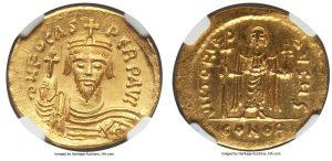 Золотой солид византийского императора Фоки (602–610 гг.)