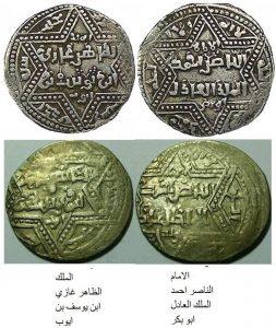 Арабская монета эмира Аз-Захира Гази (Алеппо, Сирия) и подражающая ей монета крестоносцев из Акко (ХIII век). Монета крестоносцев полностью копировала арабскую надпись с именем эмира