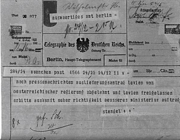 Телеграмма от 24 декабря 1919 г. об отказе Австрии в выдаче Германскому Рейху коммуниста М. Левина (BArch. R901-74554)