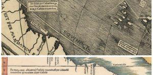 Фрагменты карт Вальдземюллера 1507 года (вверху) и 1513 года (внизу). Текст на обеих картах сообщает, что эти земли открыты генуэзцем Колумбом по поручению короля Кастилии.