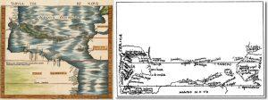 Слева — карта Вальдземюллера Tabula Terre Nove (Карта новых земель) из Географии Птолемея издания 1513 года. Справа — карта Колумба с надписью Азия на открытой им земле.