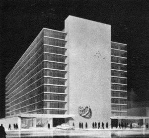 """Проект первоначального расположения """"Chicago, Rising from the Lake"""" на стене городского паркинга"""