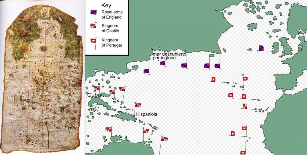 Слева — карта Хуана де ла Коса. Справа — расположение флагов стран.