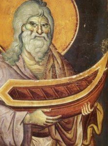 Фреска Ной работы Мануила Панселина в соборе Протата в Карее, Афон, XIV в.