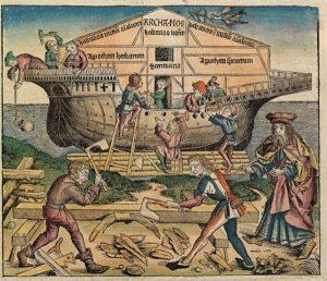Ной с линейкой длиною в локоть (Гравюра из Нюрнбергского манускрипта)