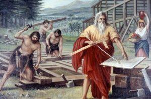 Ной и его сыновья строят ковчег. Ной с линейкой — локтем, рейсшиной и чертежом Ковчега