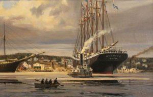 Большой деревянный корабль, шхуна Вайоминг длиной 107 м