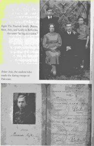 Сверху: семья Пинчук: Рейтзе, Меир, Арье и Лея. Снизу: студенческий билет Арье