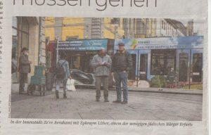 Рис. 3:В центре города: Зеев Аврахами с Эфраимом Литбером, одним из немногих еврейских граждан Эрфурта