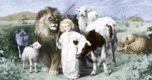 Исайя 11:6 — «Тогда волк будет жить вместе с ягненком, и барс будет лежать вместе с козленком; и телёнок, и молодой лев, и вол будут вместе, и малое дитя будет водить их».