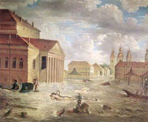 НАВОДНЕНИЕ 1824 НА ТЕАТРАЛЬНОЙ ПЛ.