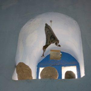 Синагога Йосефа Каро Осколок ракеты, разорвавшейся у стены синагоги во время второй Ливанской войны в 2006 г.