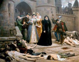 Утро Варфоломеевской ночи. Королева Екатерина Медичи выходит из ворот Лувра. Эдуард Деба-Понсан, 1880 г.