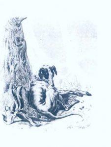Рисунок Кантора Собака и охотничья сумка под деревом, карандаш